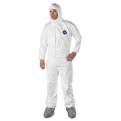 DUPTY122S2XL -  DuPont® Tyvek® Elastic-Cuff Hooded Coveralls With Attached Boots - 2XL