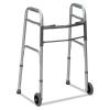 """DMI® Two-Button Release Folding Walker - w/ Wheels, Silver/gray, 32-38""""h"""