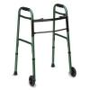 """DMI® Two-Button Release Folding Walker - W/wheels, Green/Green Ice, 32-38""""h"""