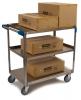 "Carlisle 3 Shelf Stainless Steel Utility Cart, 500lb - 15.1/2""W x 24""L"