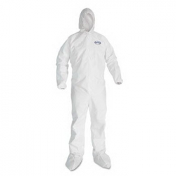 KCC44336 - Kimberly-Clark® KLEENGUARD* A40 Elastic-Cuff Hood and Boot Coveralls - White, 3XL