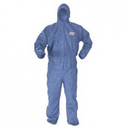 KCC45097 - Kimberly-Clark® KLEENGUARD* A60 Elastic-Cuff and Back Hood and Boot Coveralls - 4X-Large, Blue