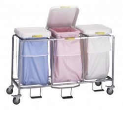 RBW 686 - R&B Wire Triple Leakproof Laundry Hamper - with Foot Pedal