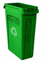 RUBBERMAID Slim Jim® Recycling Container with Venting Channels - Green