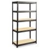 Boltless Steel/Particleboard Shelving - Black, 5 Shelves